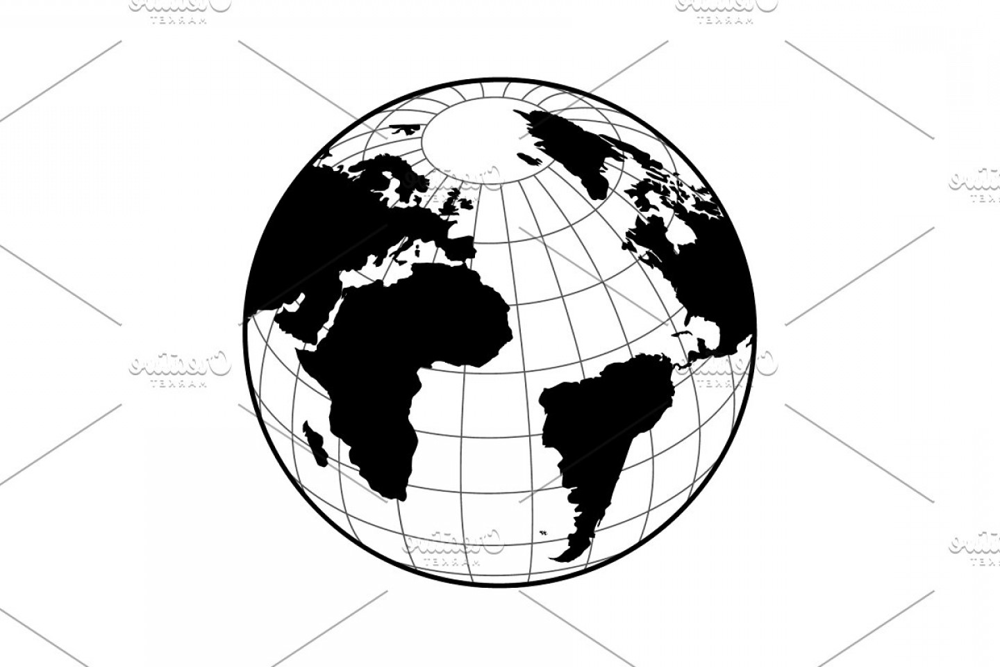 One Color Simple Vector Globe: Globe Icon With Vector Map