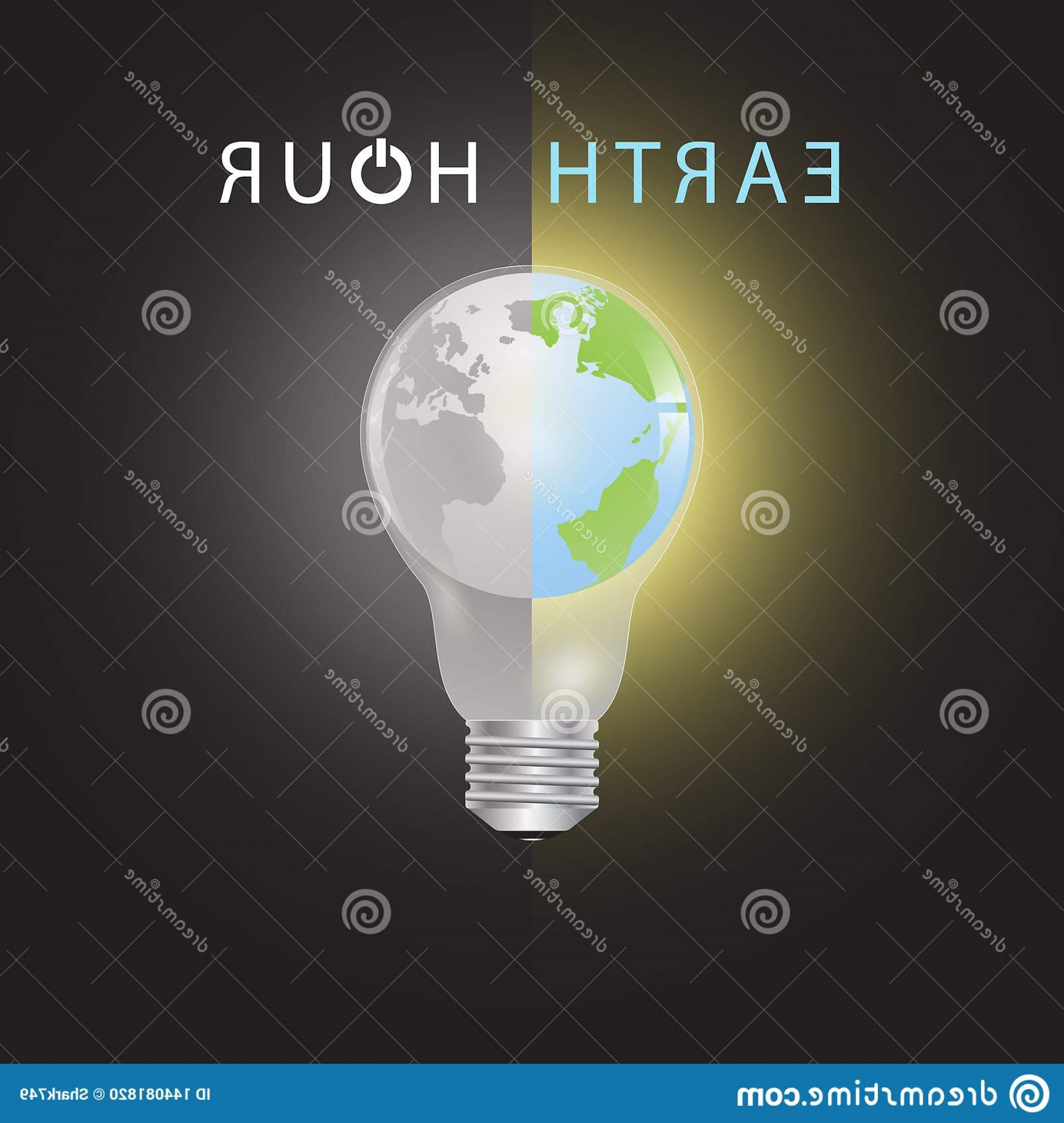 One Color Simple Vector Globe: Globe Lightbulb One Half Color Another Half Black White Earth Hour Environmental Concept Vector Illustration Image