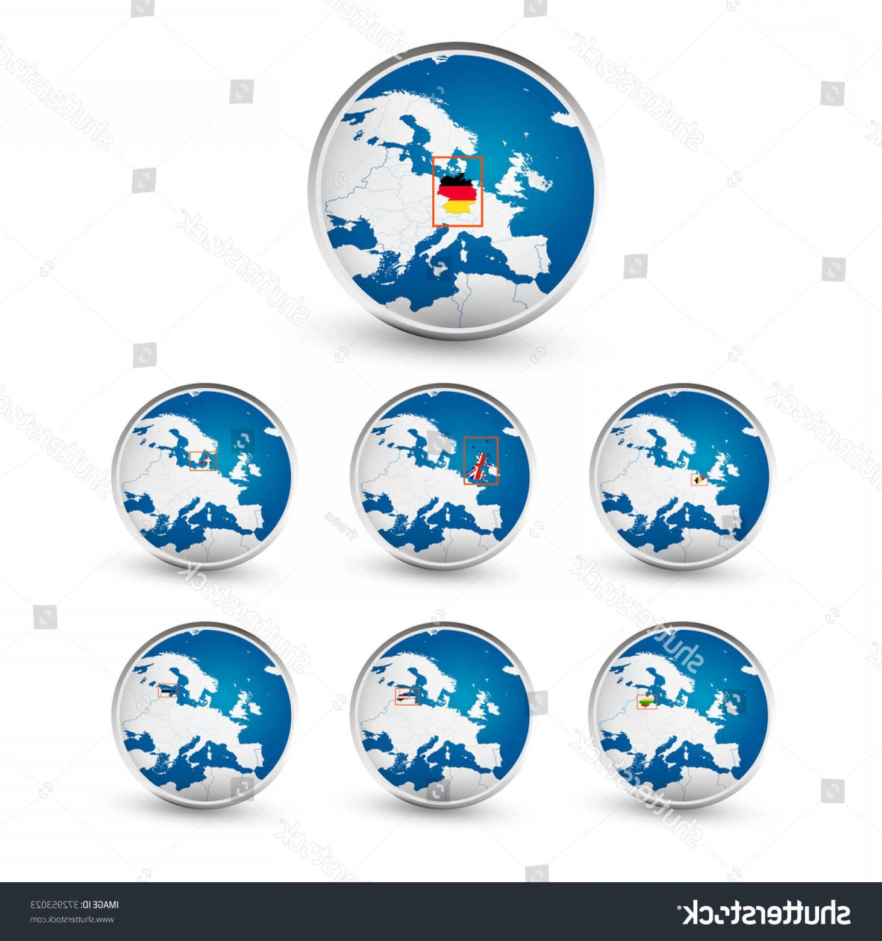 Vector Globe Countries: Globe Set Eu Countries World Map