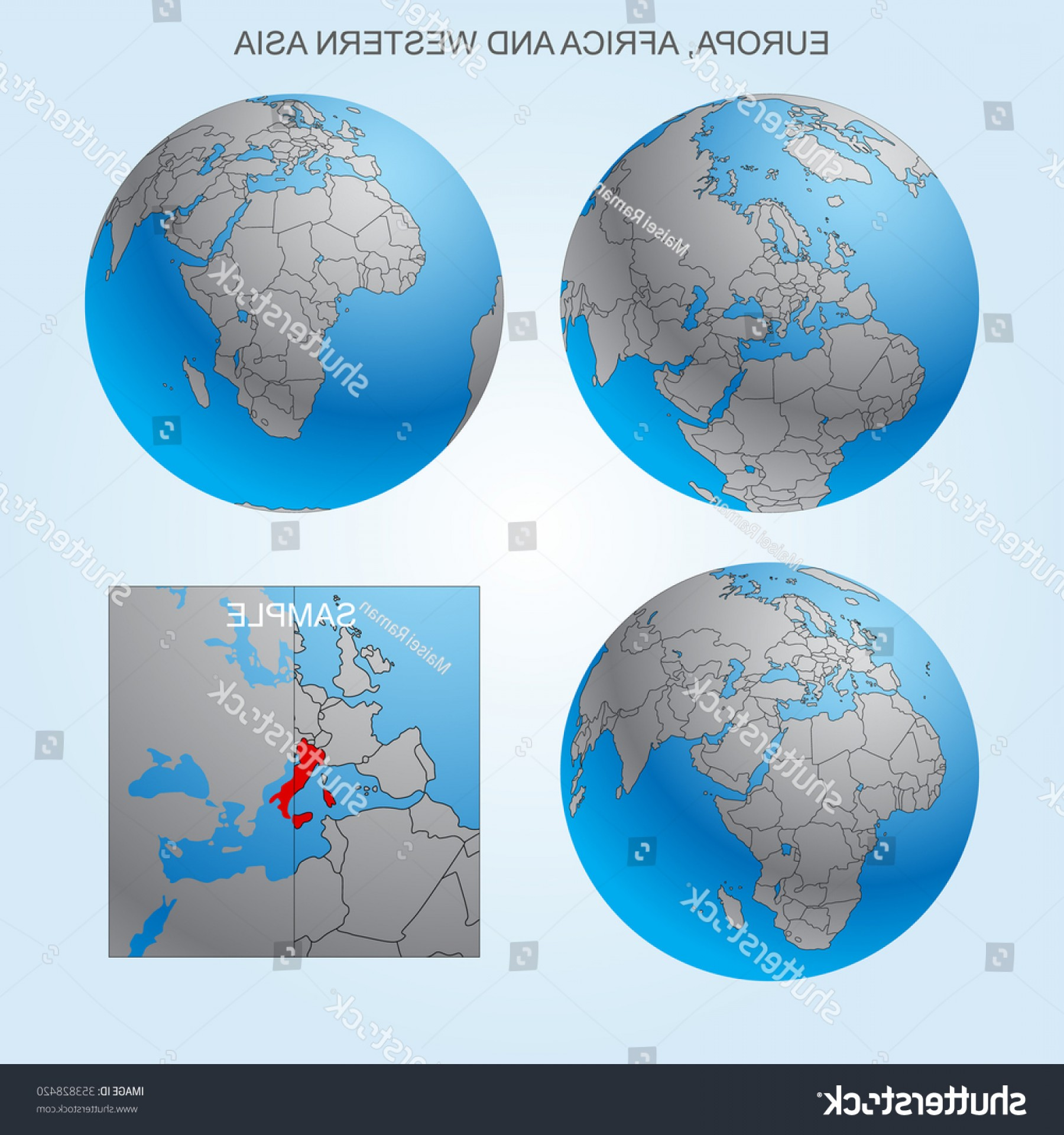 Vector Globe Countries: Globe Set Europe Africa Western Asia
