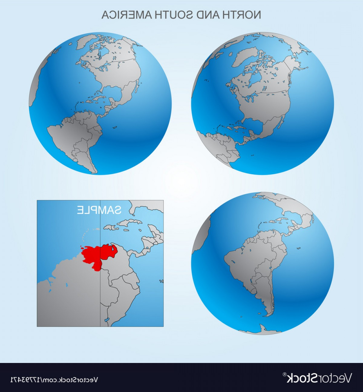 Vector Globe Countries: Globe Set With Borders Of Countries Vector