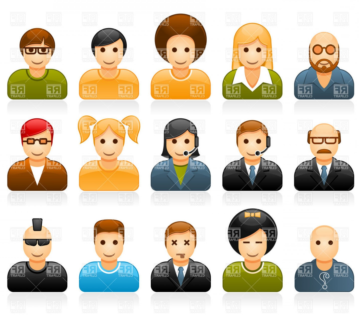 Vector People Free Clip Art: Glossy People Avatars With Different Style And Hairdo Vector Clipart