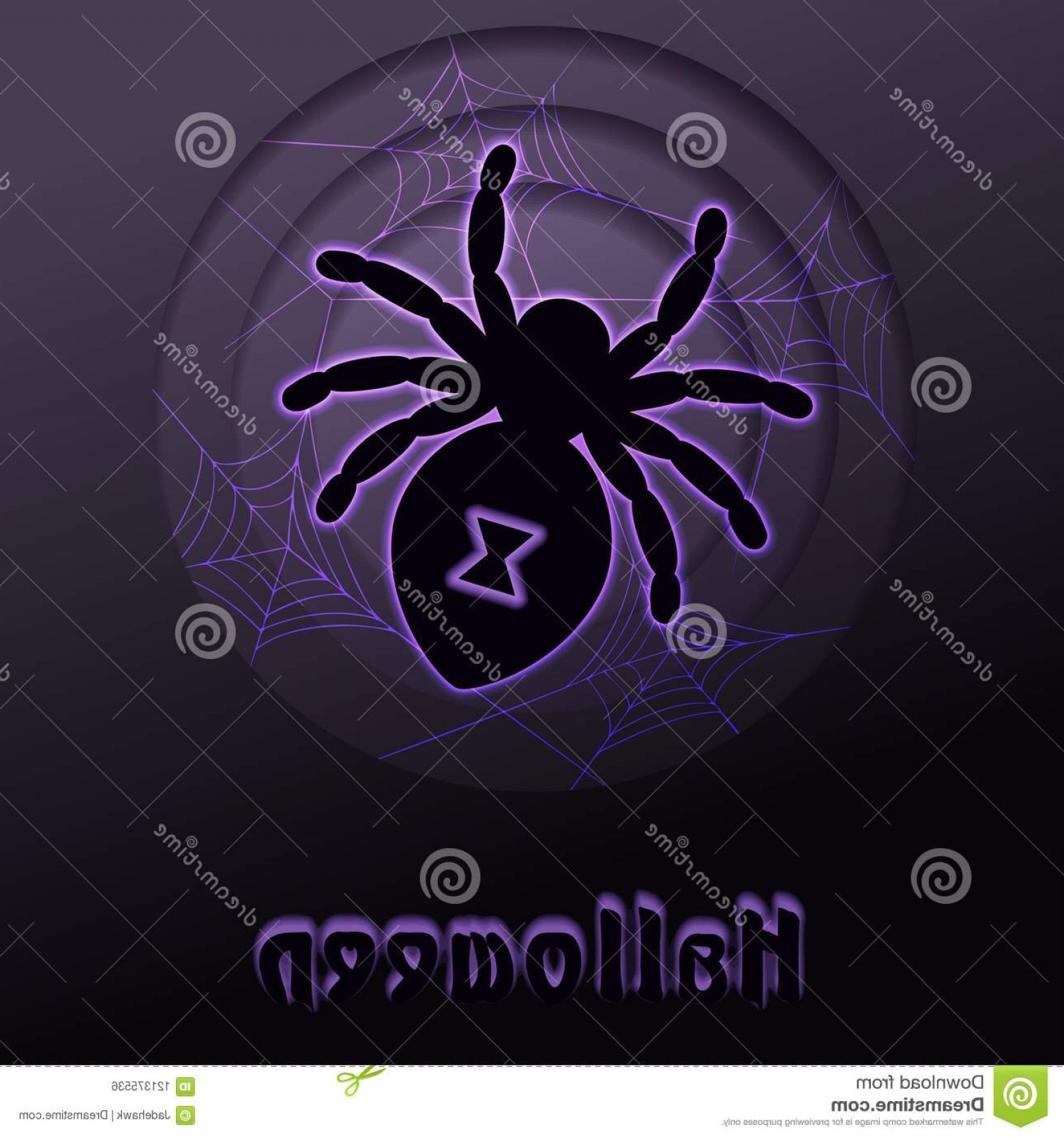 Easy Spider Vector Illustration: Glowing Spider Paper Cut Halloween Design Minimalistic Papercut Design Glowing Halloween Silhouette Graphics Grouped Image