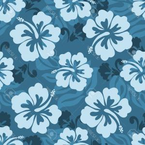 Hawaiian Flower Seamless Vector Pattern: Glamorous Photoseamless Pattern Of Hawaiian Hibiscus Flowers And Leaves