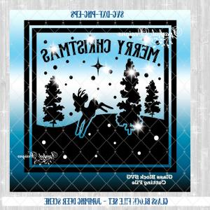 Wood Scene Silhouette Vectors: Glass Block Svg File Christmas Scene Cut