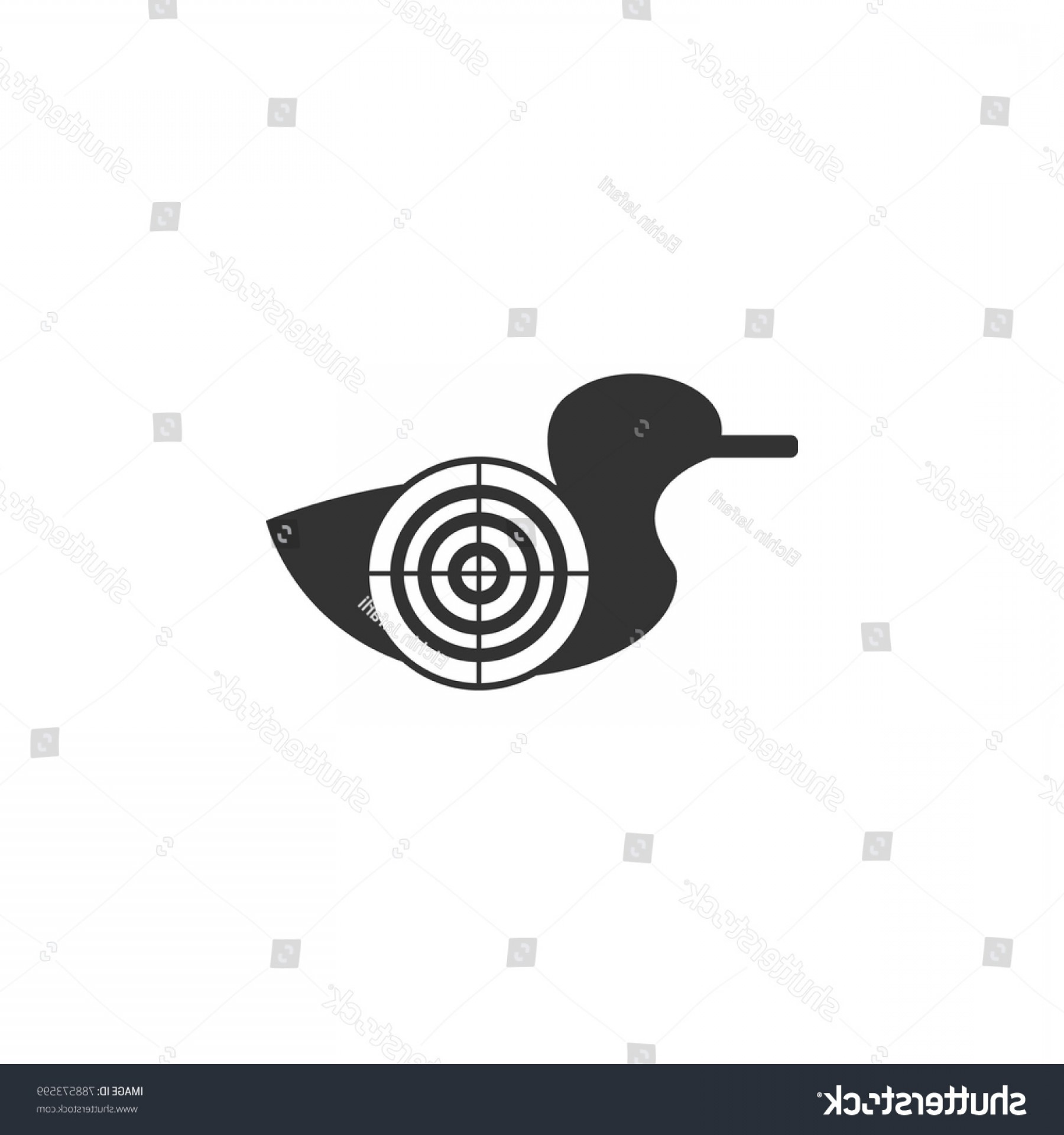Shot Duck Outline Vector: Goal Duck Shooting Range Icon Amusement