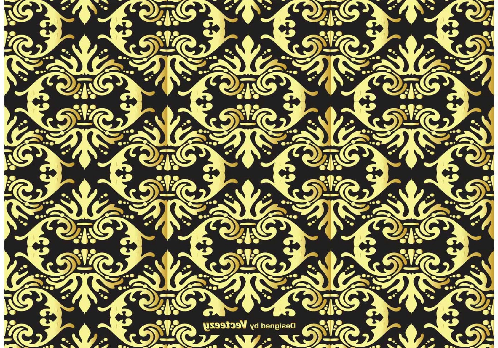 Damask Background Vector Art: Gold And Black Damask Background