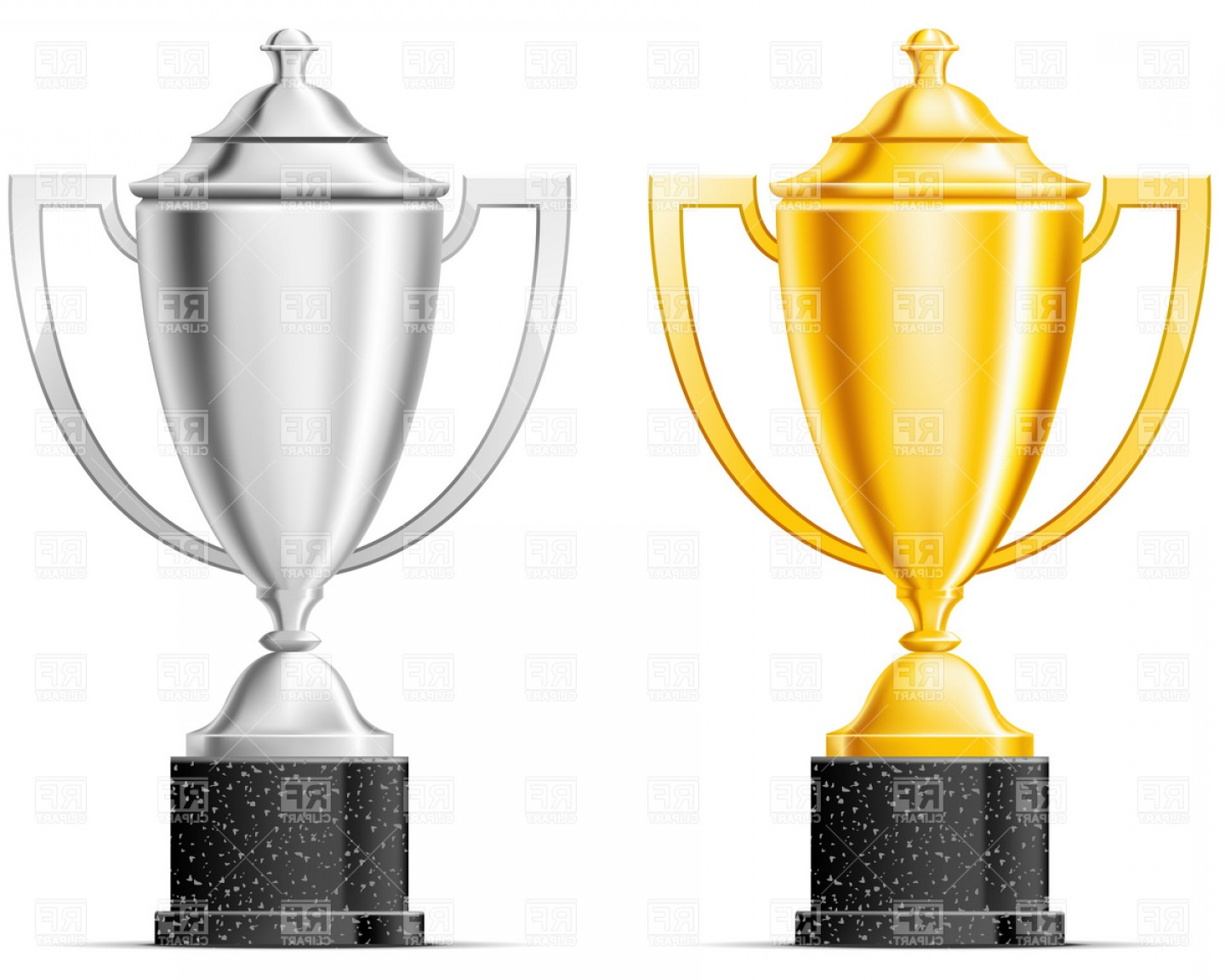 Gold Trophy Vector: Gold And Silver Cup Vector Clipart