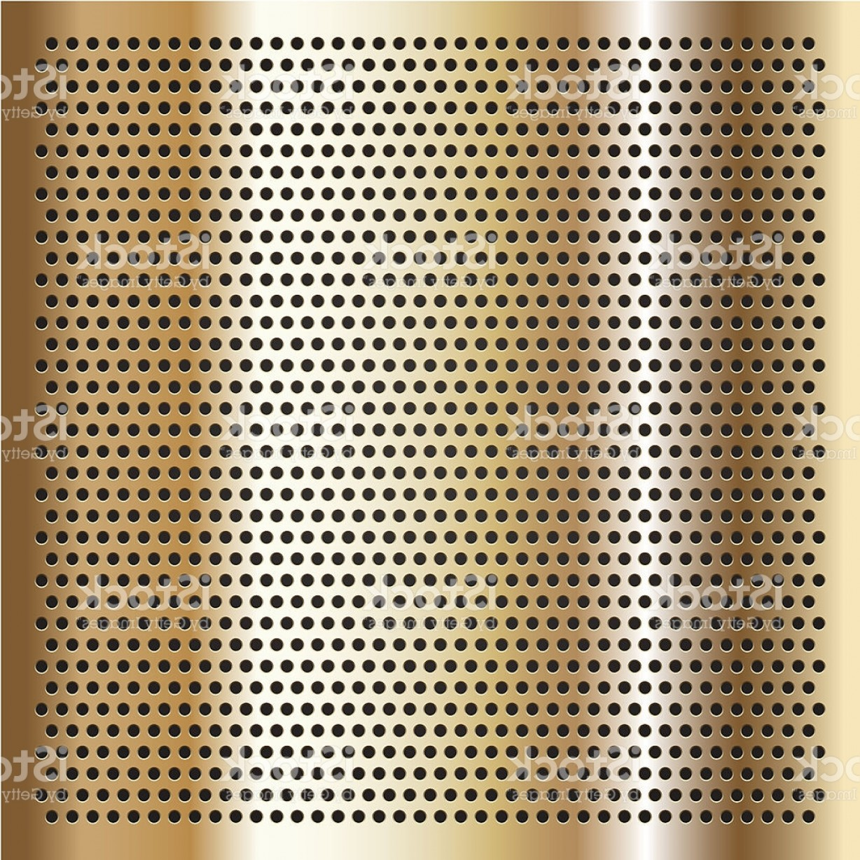 Sheet Metal Effect Vector: Gold Background Perforated Sheet Gm