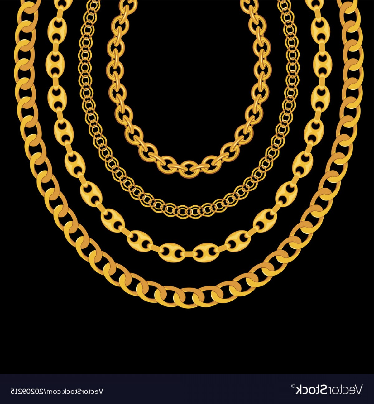 Necklace Vector Chain Grapicts: Gold Chain Jewelry On Black Background Vector