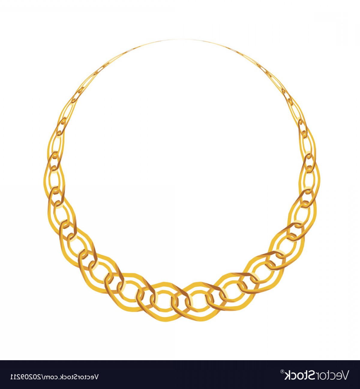 Necklace Vector Chain Grapicts: Gold Chain Jewelry On White Background Vector