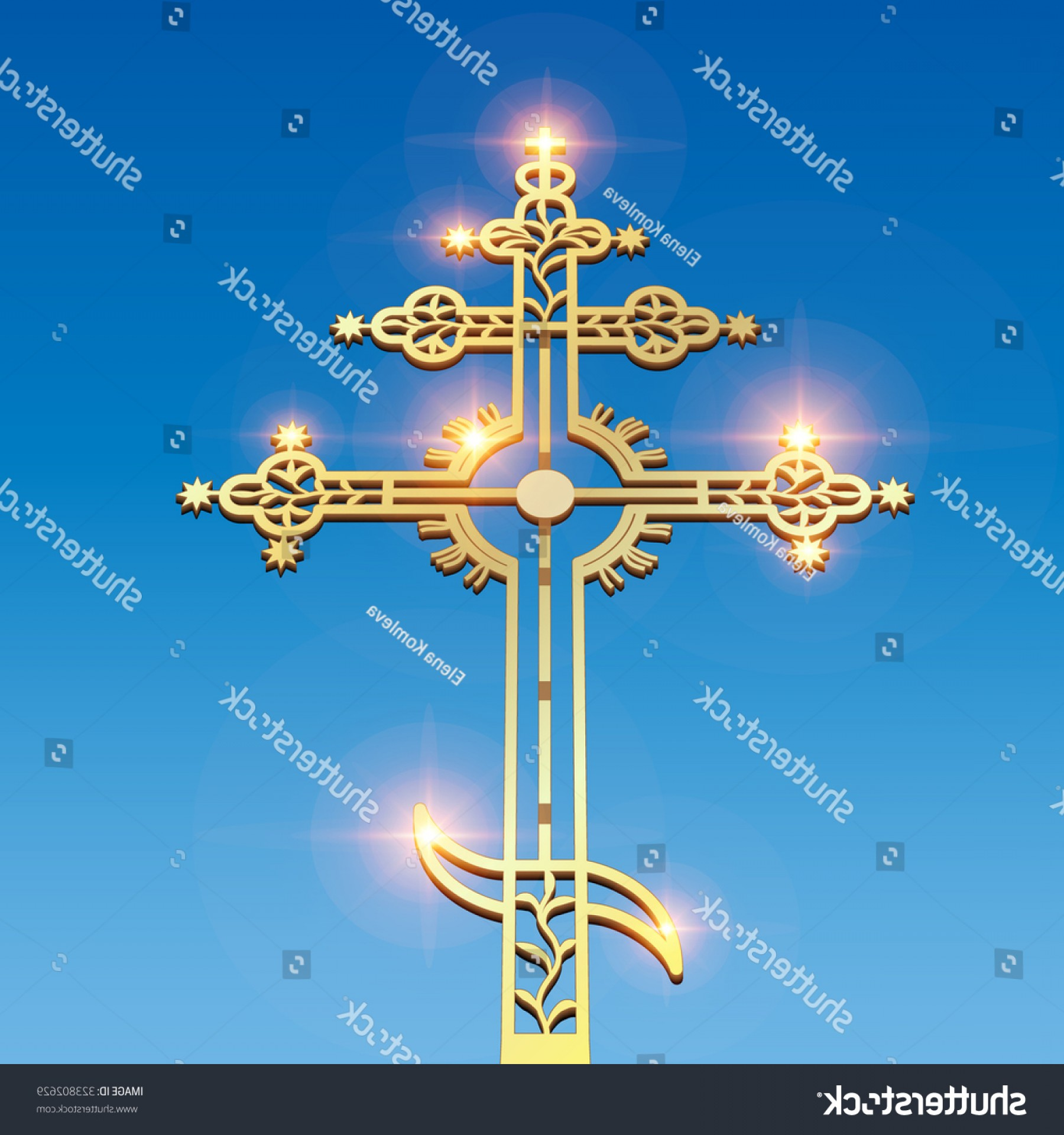 Christian Vector Sun: Gold Christian Cross Morning Sun On