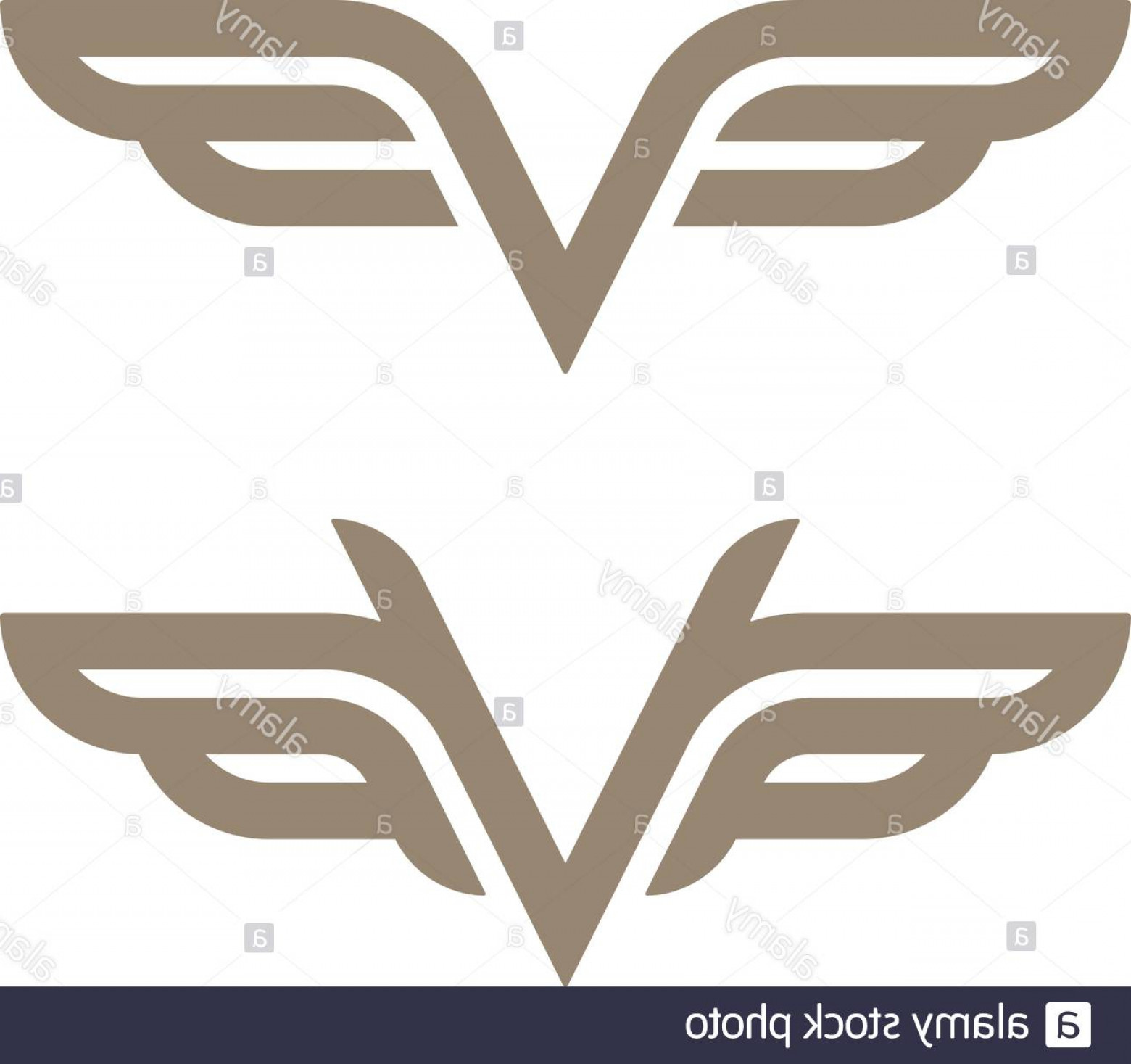 ADP Logo Vector: Gold Colored Wings Outline Icons Abstract Luxury Logo Template Image