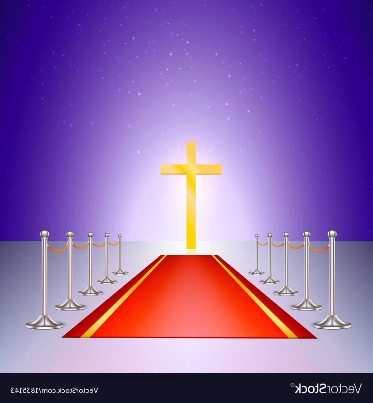 Struts For Cars Vector: Gold Cross Red Carpet And Fencing Of Chrome Struts Vector