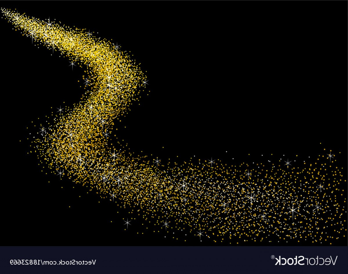 Vector Gold Dust: Gold Dust On Black Background Vector