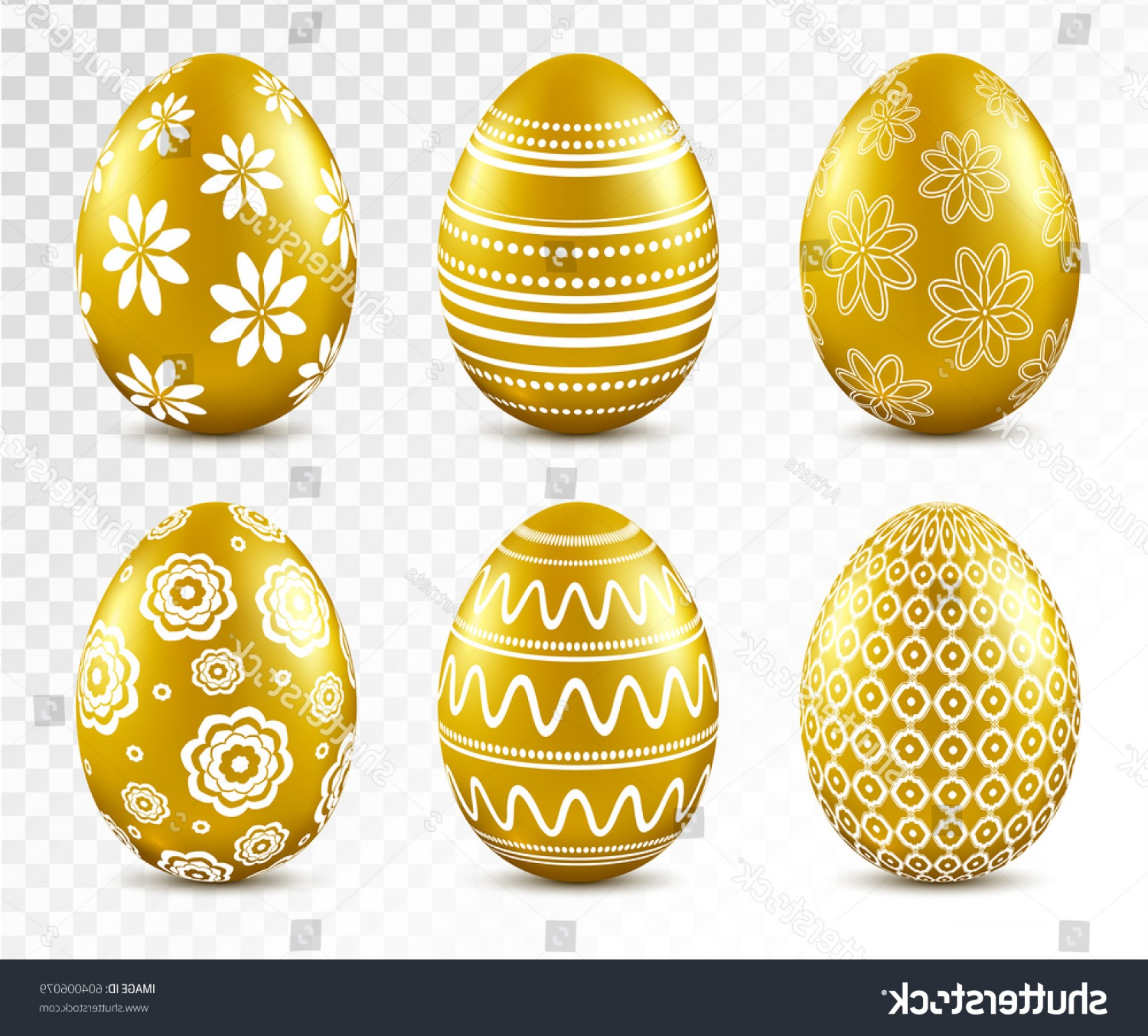 Easter Vector No Background: Gold Easter Eggs Patten Set Isolated