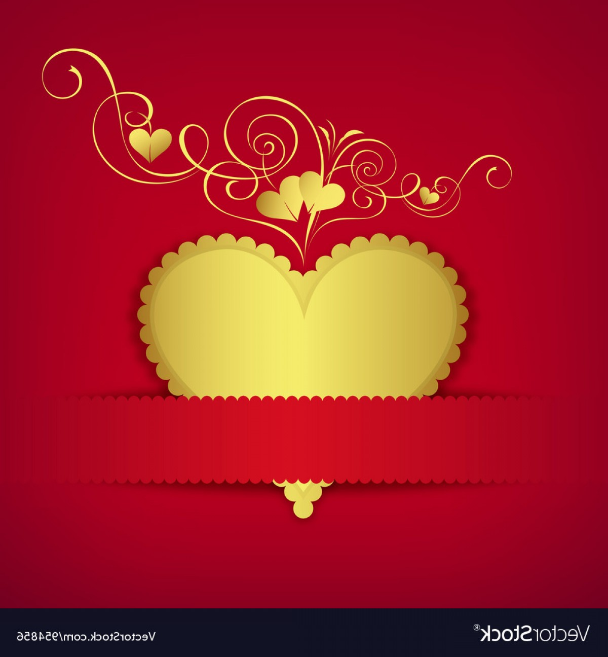 Heart Card Vector: Gold Heart Classic Valentine Day Greeting Card Vector