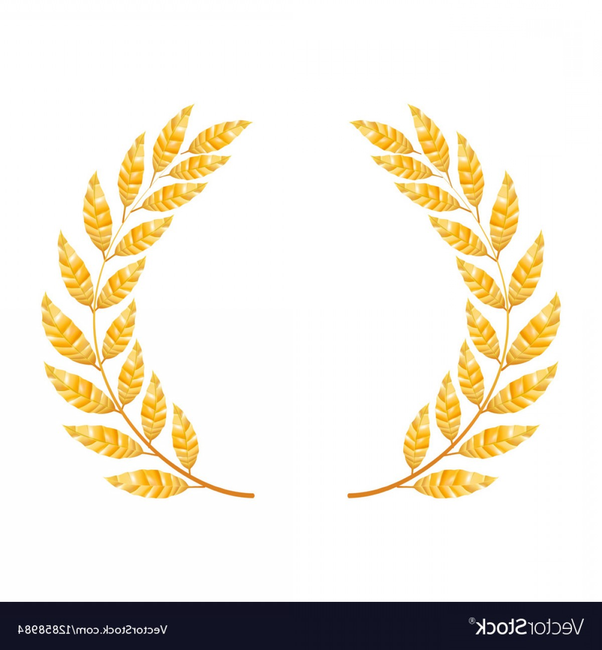 Award Vector Leaves: Gold Laurel Shine Wreath Award Design Vector
