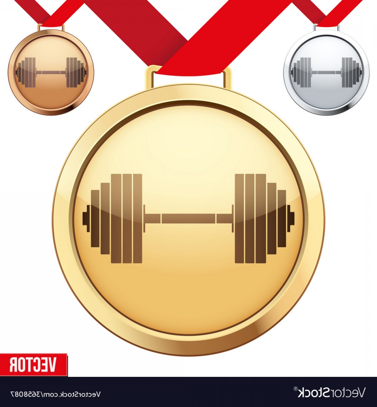 Gold Gym Vector: Gold Medal With The Symbol Of A Gym Inside Vector
