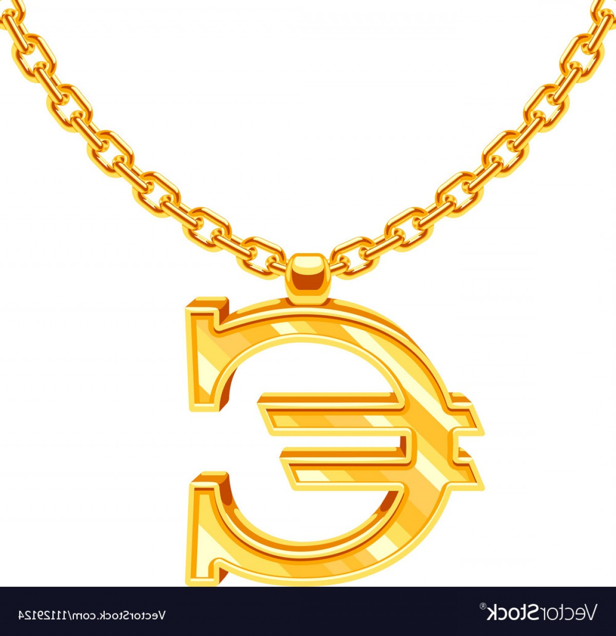 Necklace Vector Chain Grapicts: Gold Necklace Chain With Euro Symbol Vector