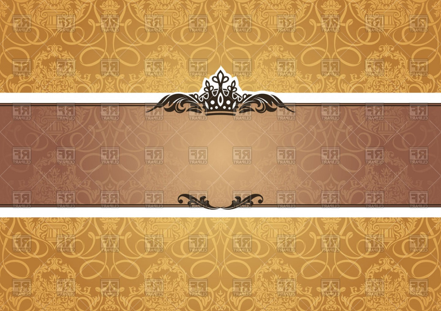 Gold Ornate Borders Vector: Gold Ornate Frame Or Card Vector Clipart