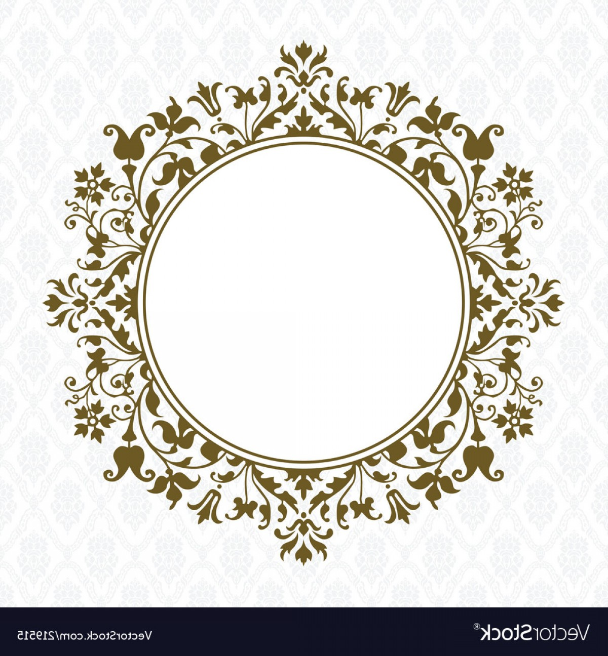 Square Gold Frame Vector PNG: Gold Round Floral Frame Vector