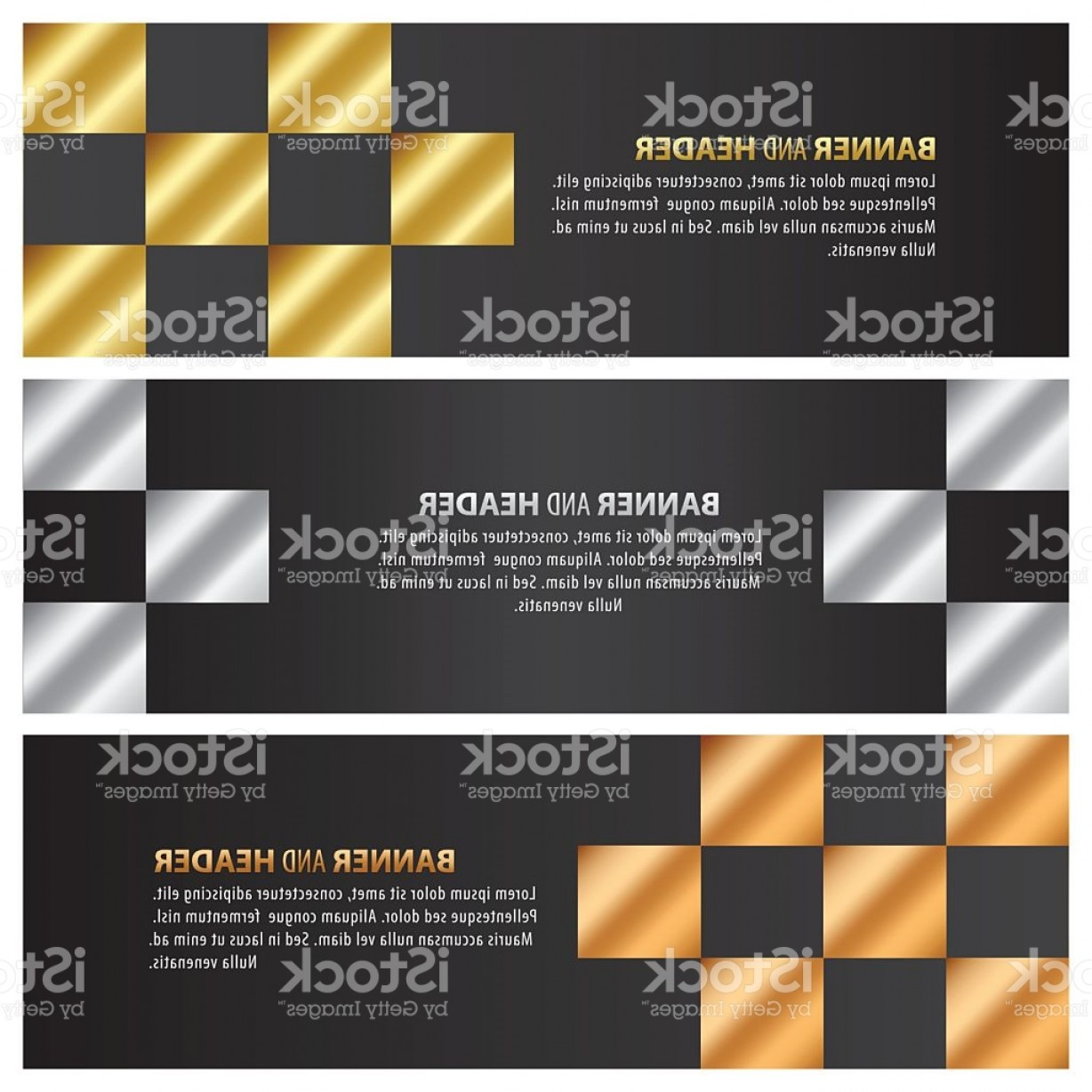 Checker Vector Template: Gold Silver And Bronze Banner Template Design Checker Style Gm