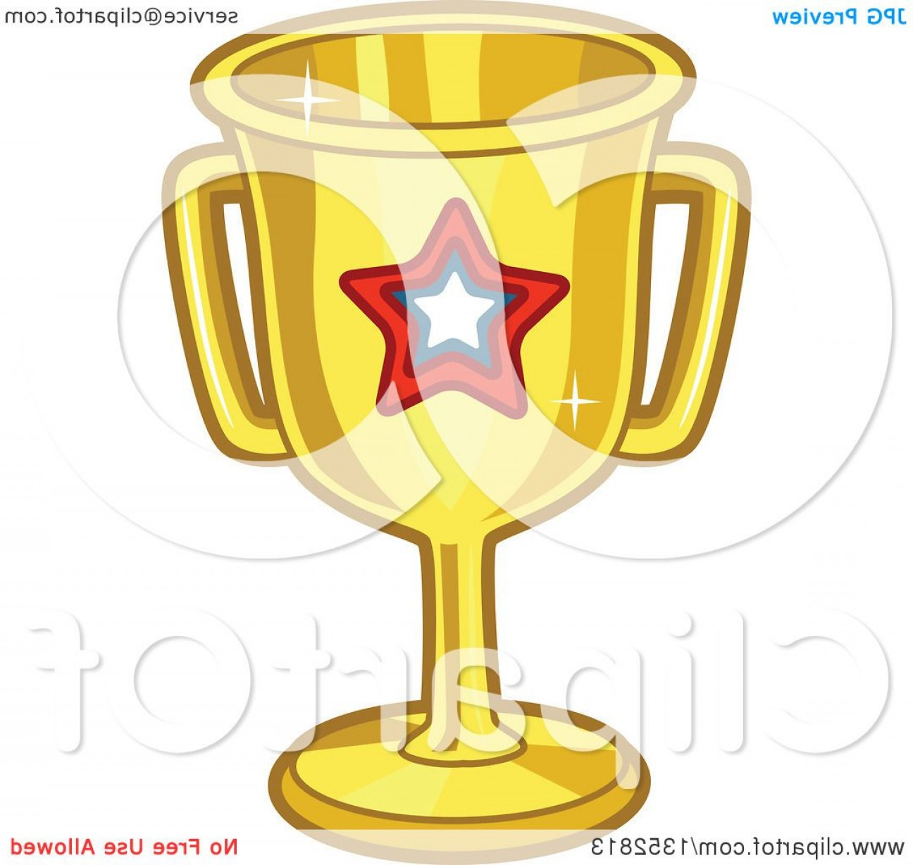Gold Trophy Vector: Gold Trophy With A Star