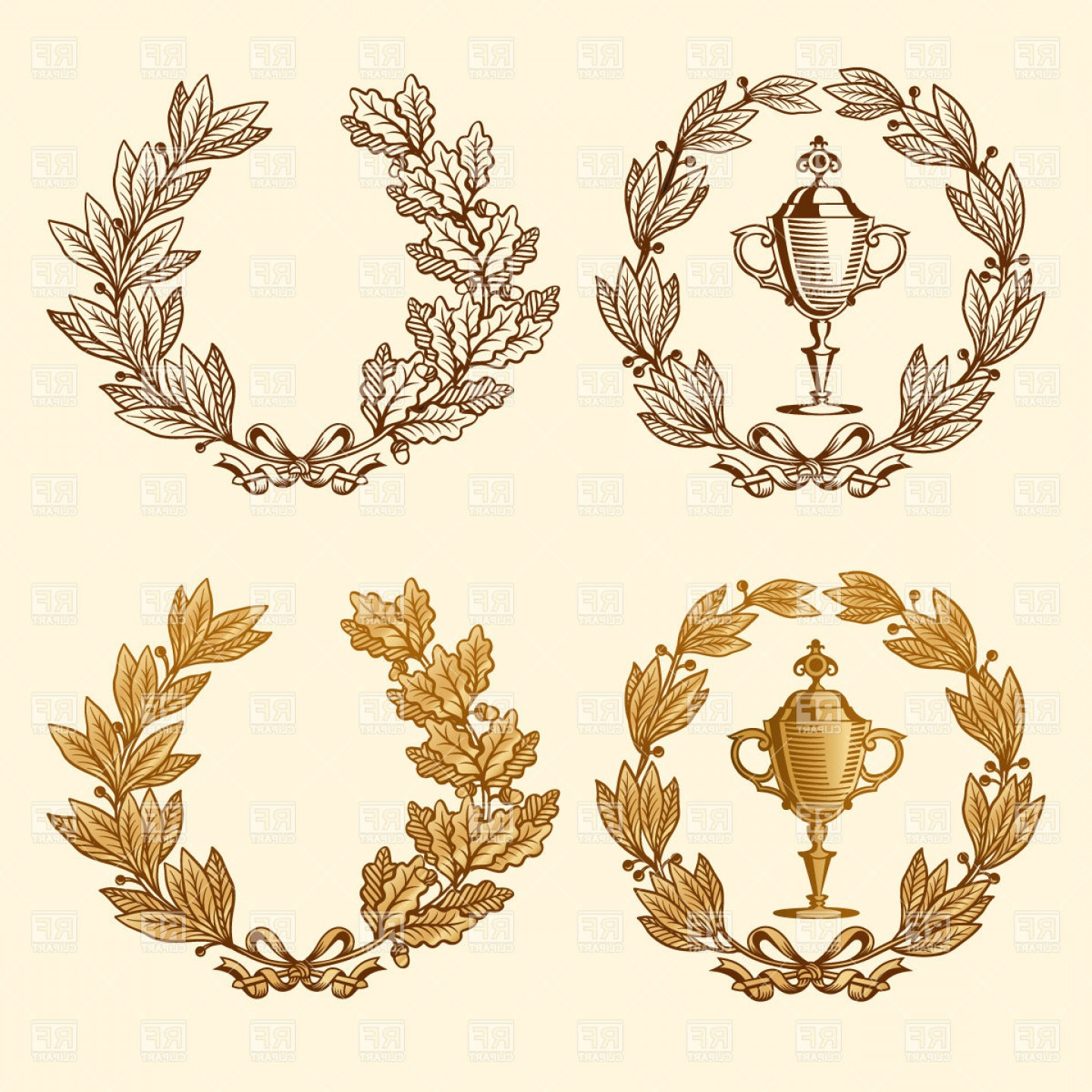Champion Vector Art: Golden And Bronze Laurel And Oak Wreaths With Champions Cup Vector Clipart