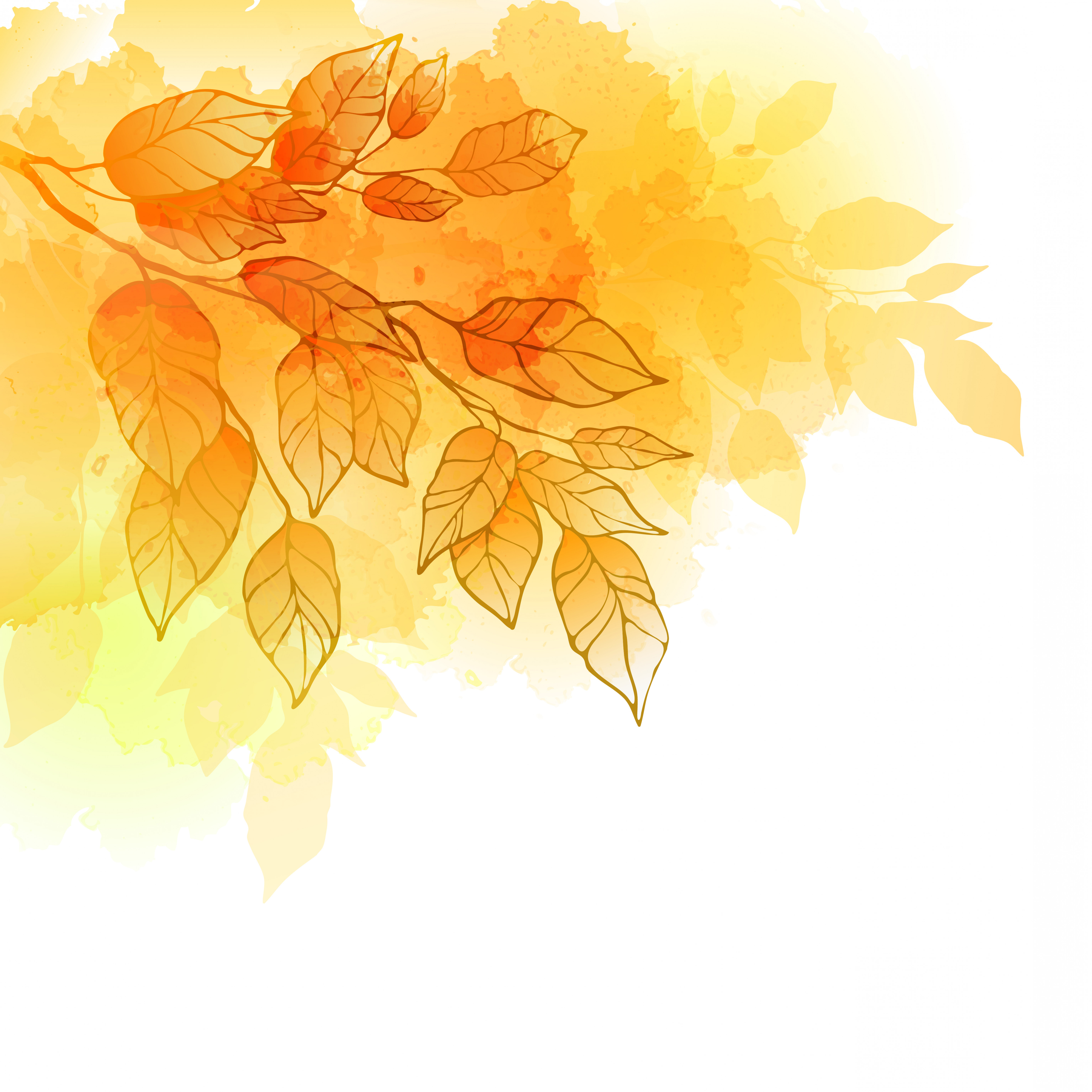 Free Vector Backgrounds Illustrator Free Download: Golden Autumn Leaves Background Vector Material