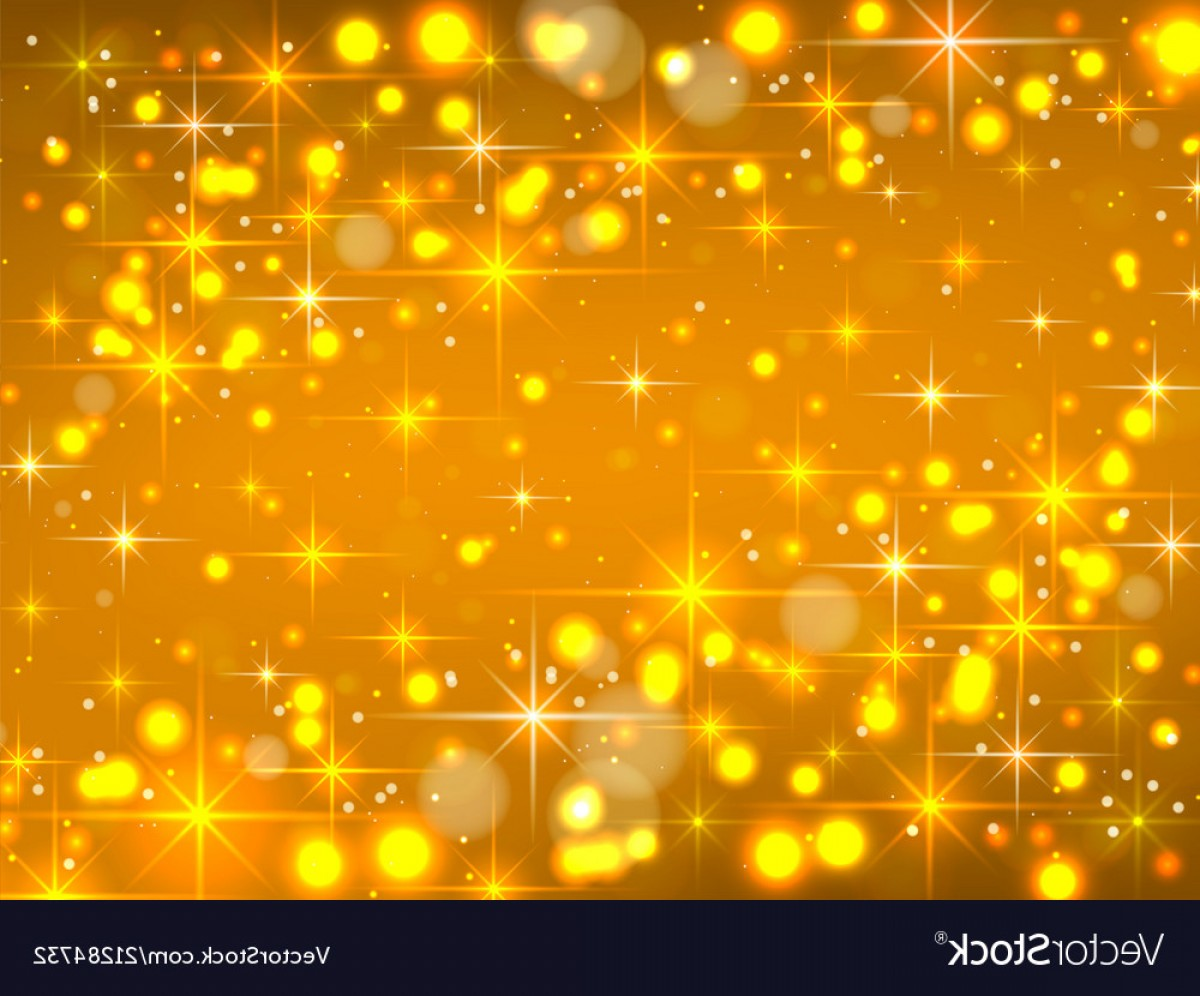 Stars Yellow Christmas Vector: Golden Background With Stars Christmas Vector