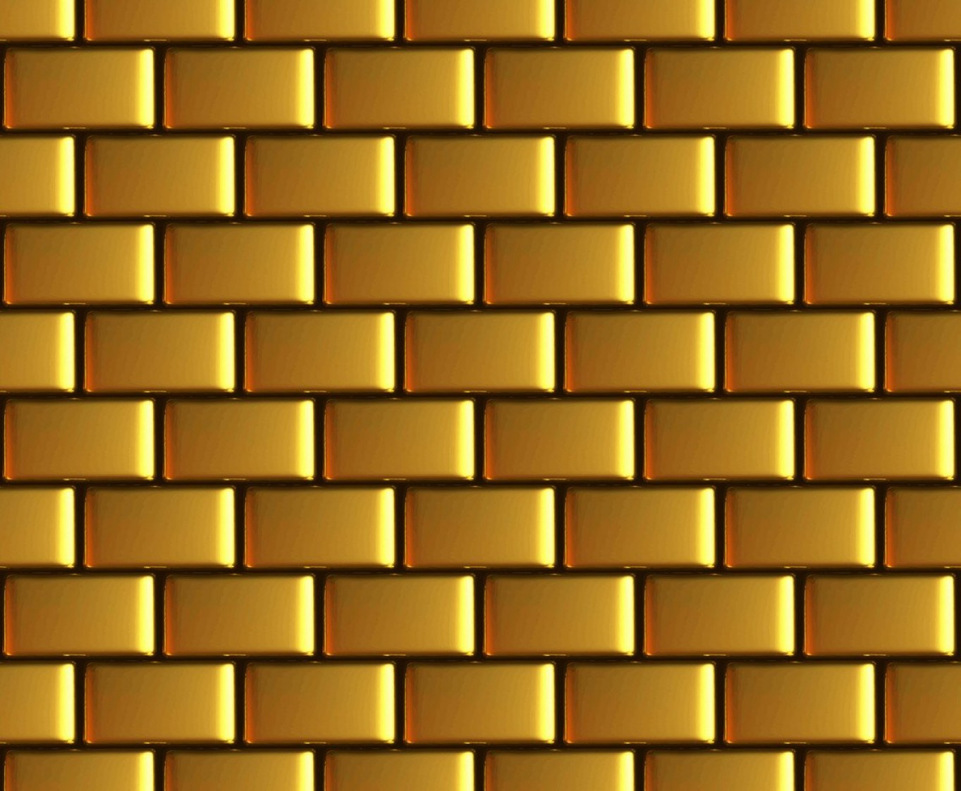 Wall Background Vector: Golden Brick Wall Vector Background