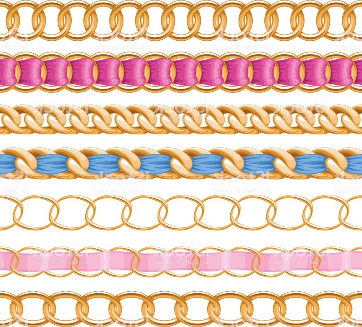 Fabric Orange Ribbon Vector: Golden Chains Set With Colorful Fabric Ribbon Vector Brush Gm