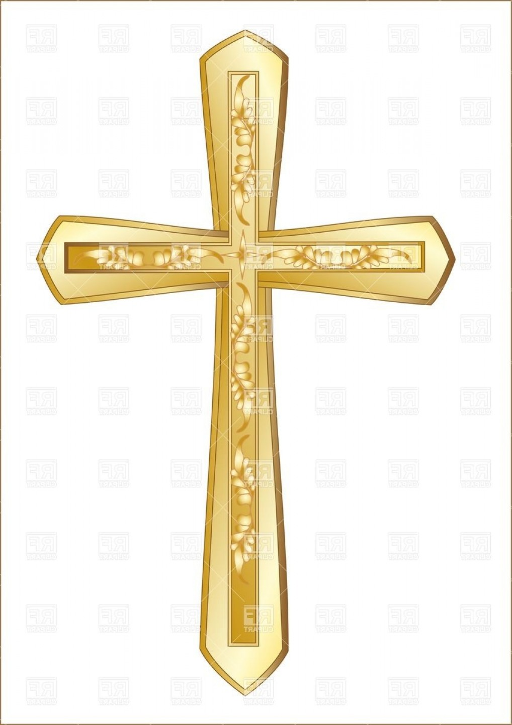 Cool Cross Vector Clip Art: Golden Christian Cross Isolated On The White Background Vector Clipart