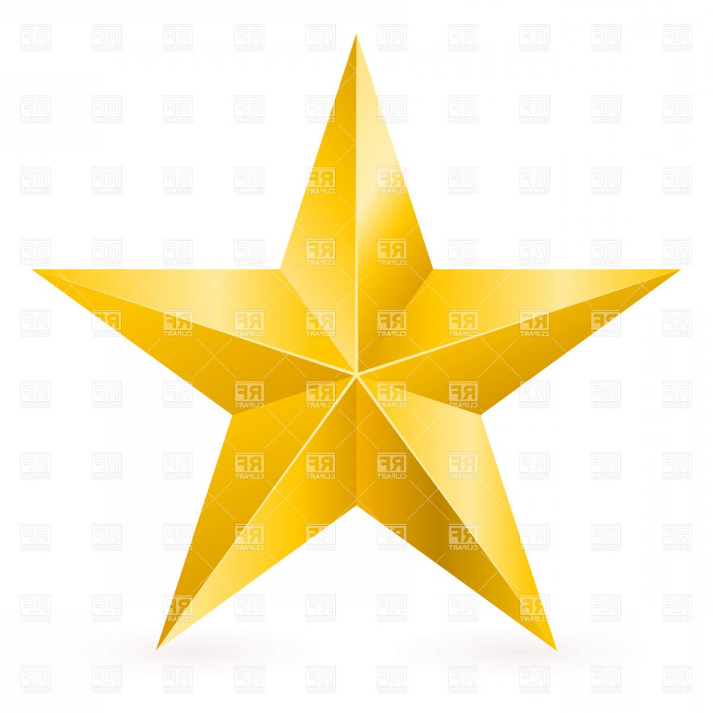 5 Point Star Vector Art: Golden Five Point Star With Facets Vector Clipart