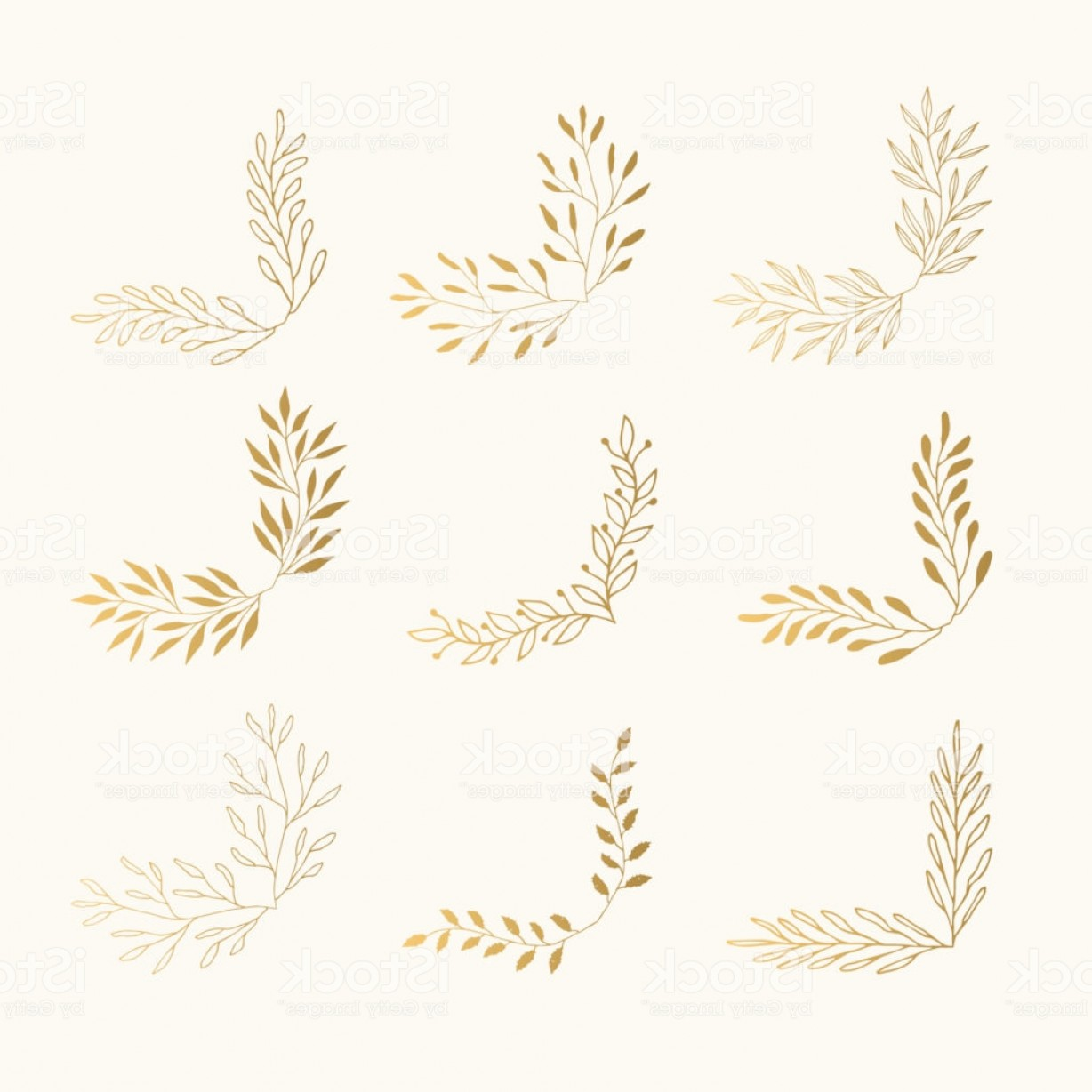 Wheat Flourishes Vector: Golden Floral Corners Sketched Vector Illustration Fancy Borders Flourish Page Gm