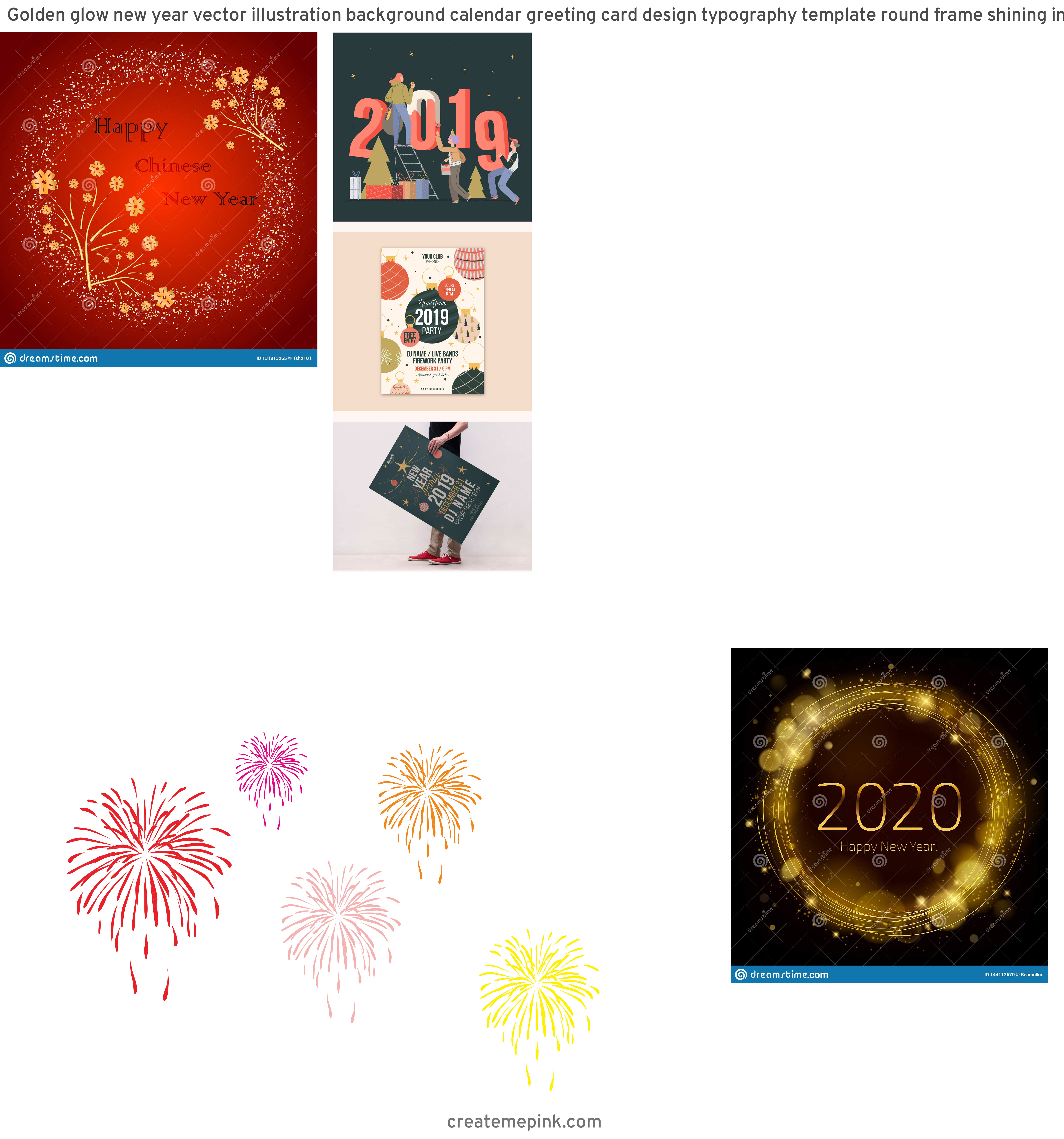 Free New Year Vector: Golden Glow New Year Vector Illustration Background Calendar Greeting Card Design Typography Template Round Frame Shining Image