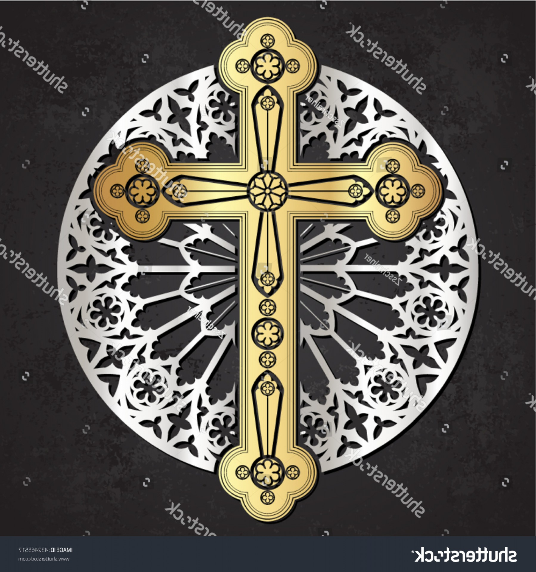 Gothic Religious Vector: Golden Gothic Cross On Silver Rose