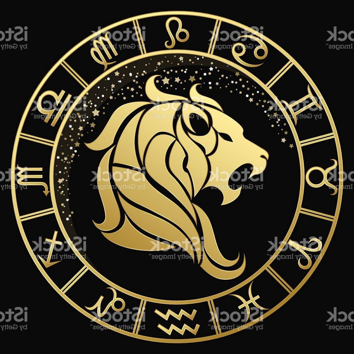 Leo Symbol Zodiac Vector: Golden Leo Zodiac Sign Gm