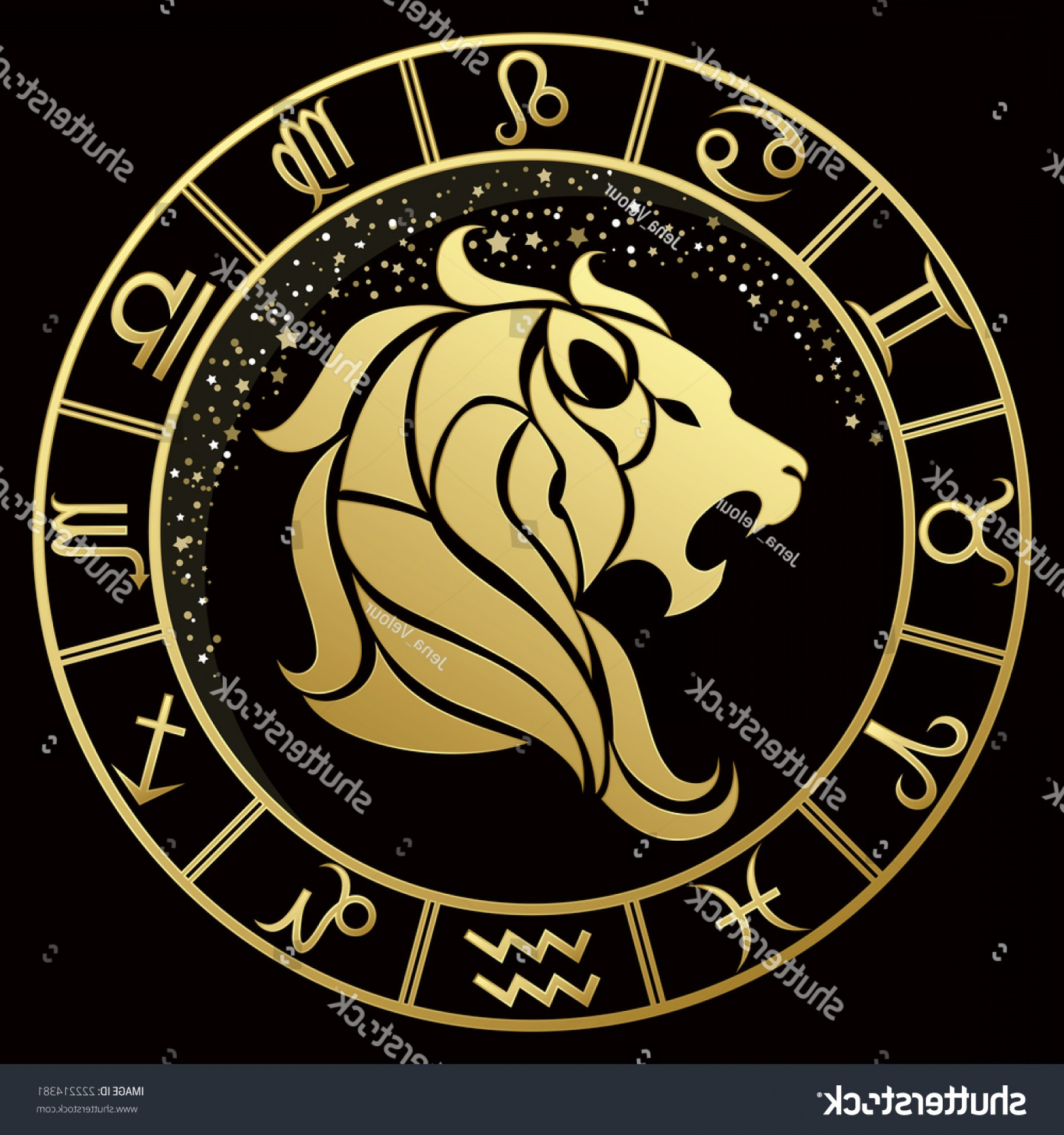 Leo Symbol Zodiac Vector: Golden Leo Zodiac Sign Vector Illustration