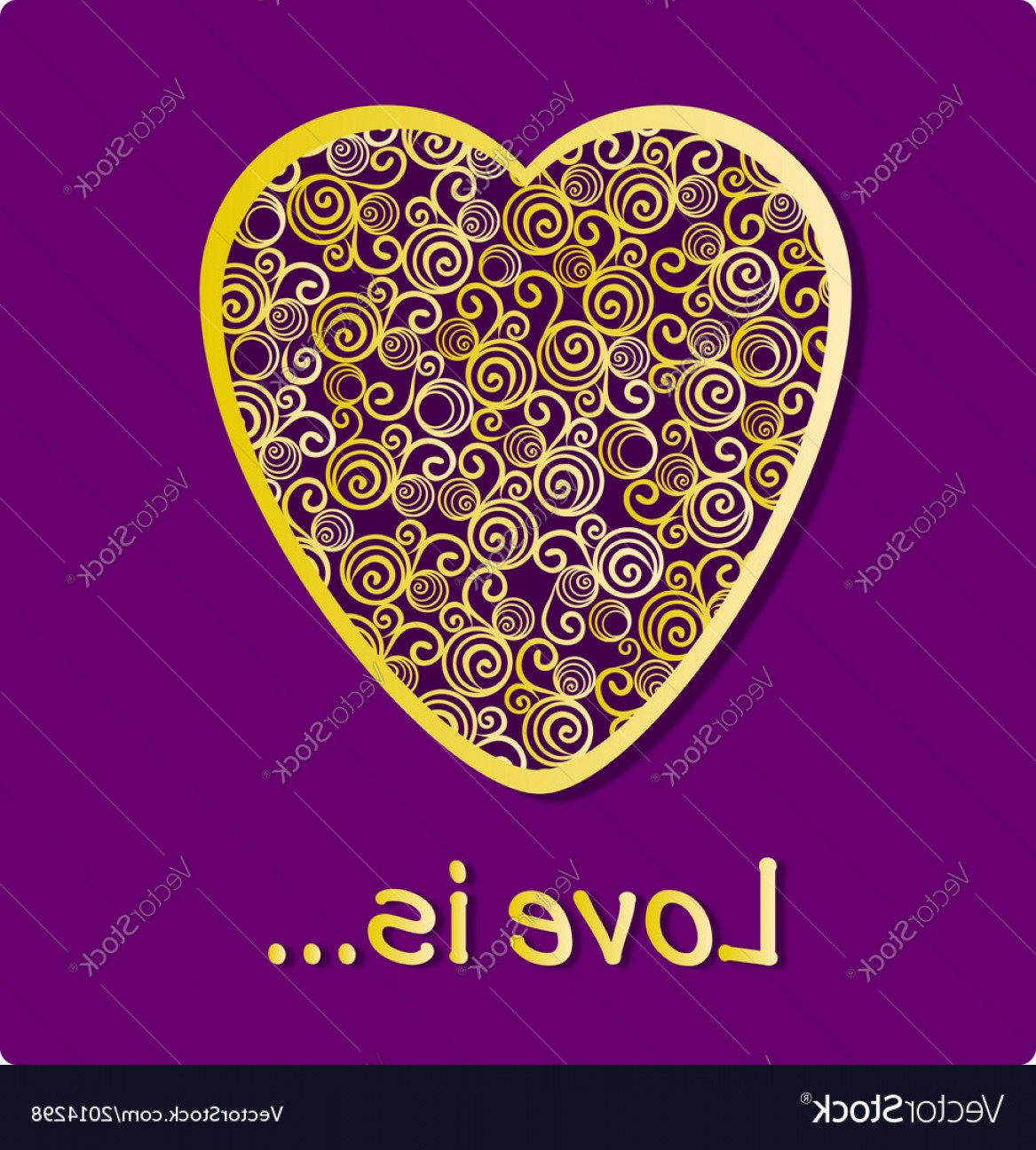 Vector Filigree Heart: Golden Ornamental Floral Filigree Heart Vector