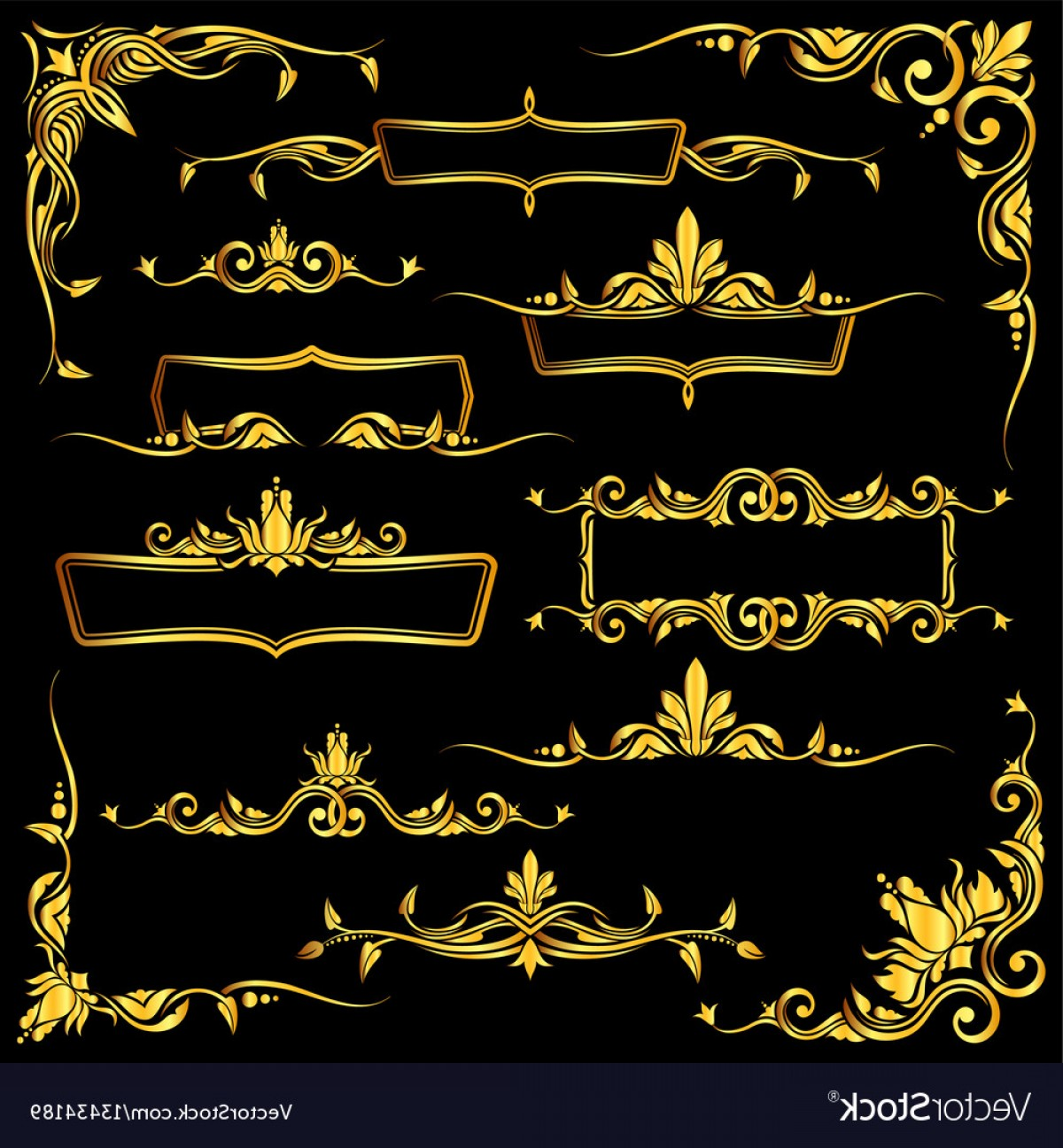 Gold Ornate Borders Vector: Golden Ornate Frames Borders And Corner Vector