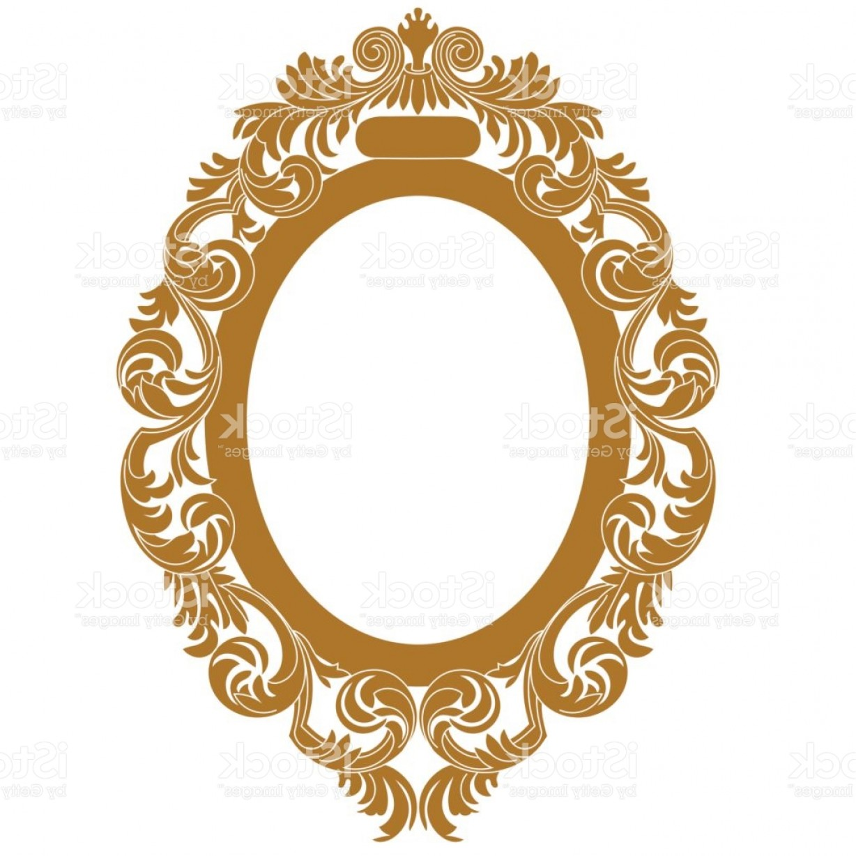 Filigree Oval Frame Vector: Golden Oval Vintage Border Frame Engraving With Retro Ornament Pattern In Antique Gm