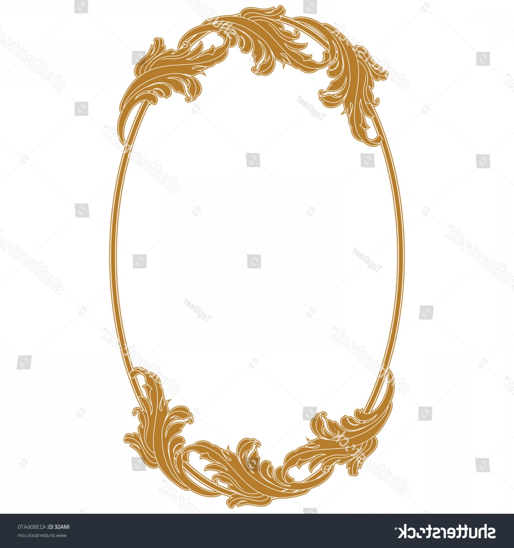 Filigree Oval Frame Vector: Golden Oval Vintage Frame Mirror Border