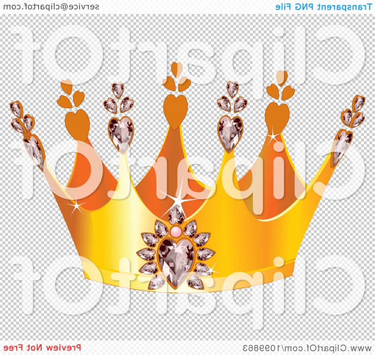 Transparent Queen Crown Vector: Golden Queens Crown With Diamond Hearts