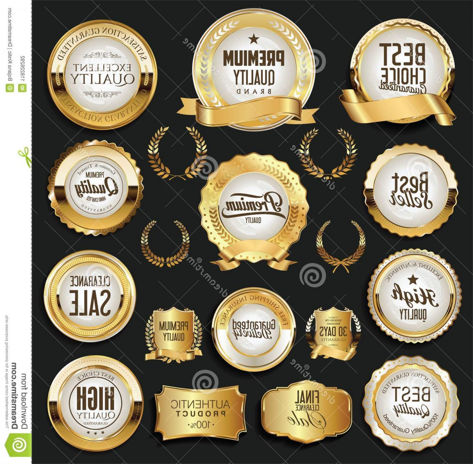 Badge Vector 1920'Sribbon: Golden Retro Labels Badges Frames Ribbons Collection Set Image