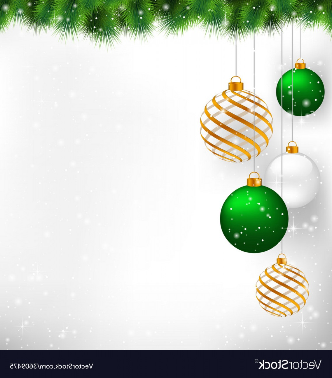 Vector-Based Grayscale Christmas: Golden Spiral And Green Christmas Balls With Pine Vector