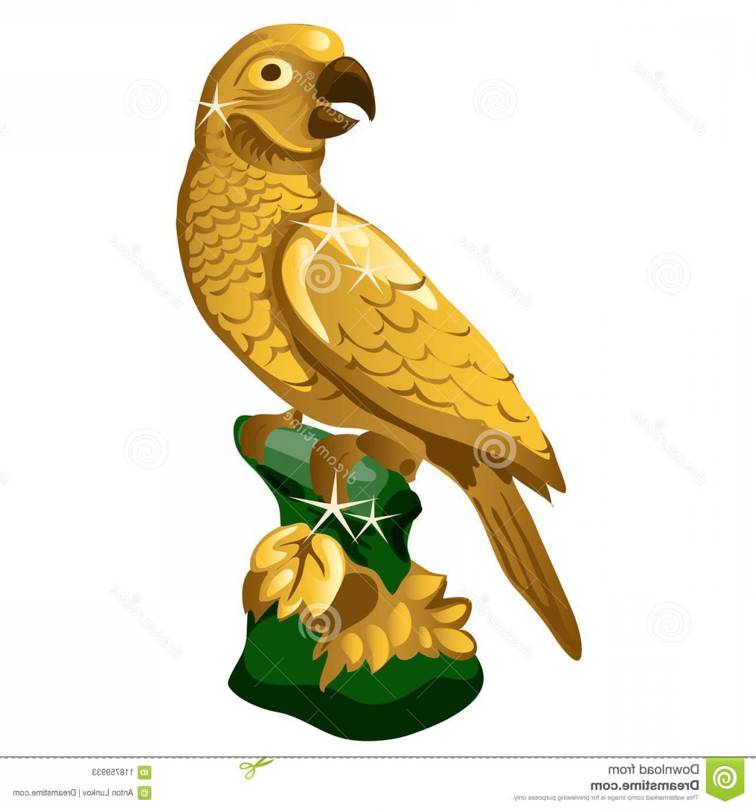 Ancient Jungle Statue Vector Images: Golden Statue Parrot Isolated White Background Vector Illustration Golden Statue Parrot Isolated White Image