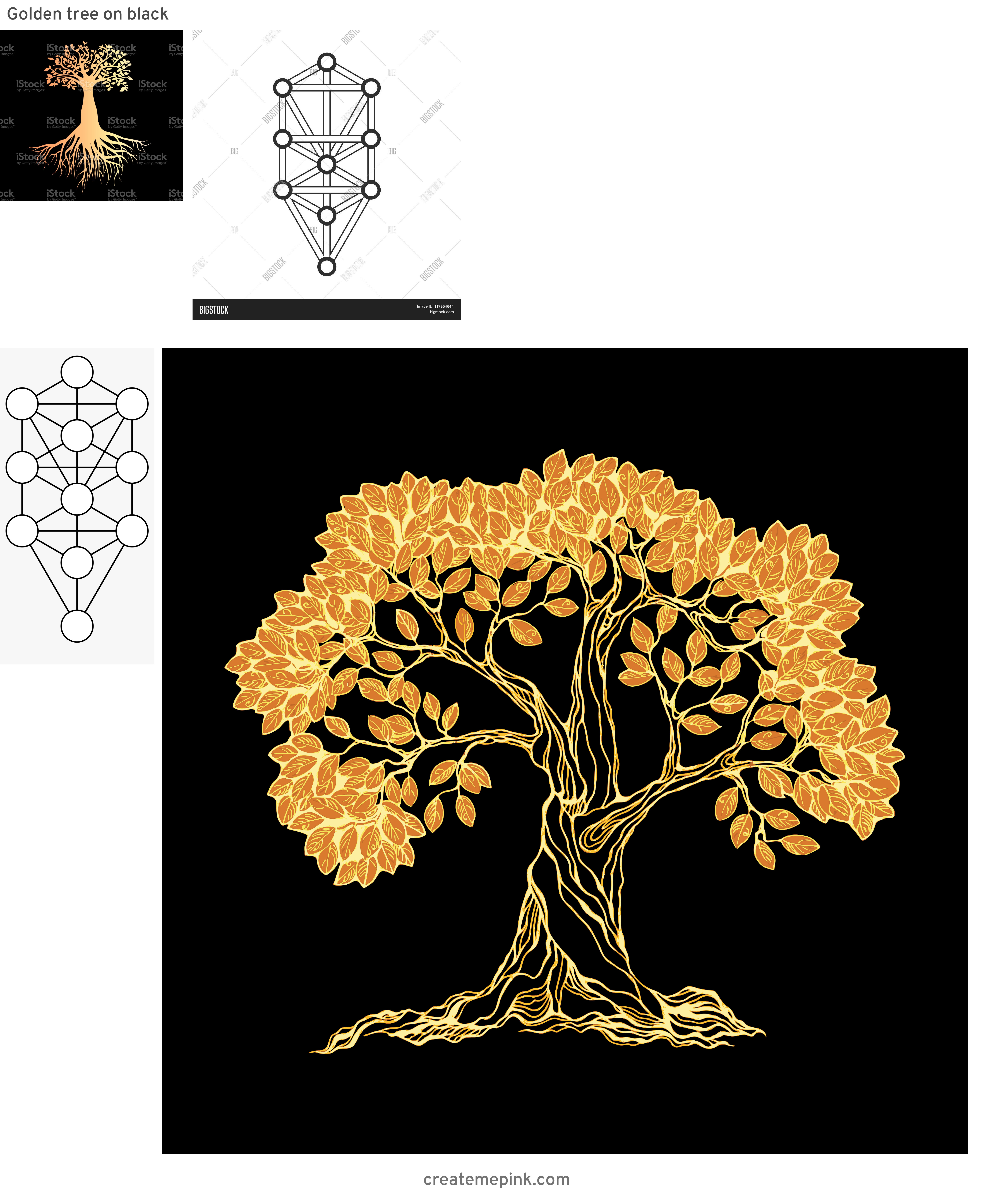 Vector Images Black Tree Of Life: Golden Tree On Black