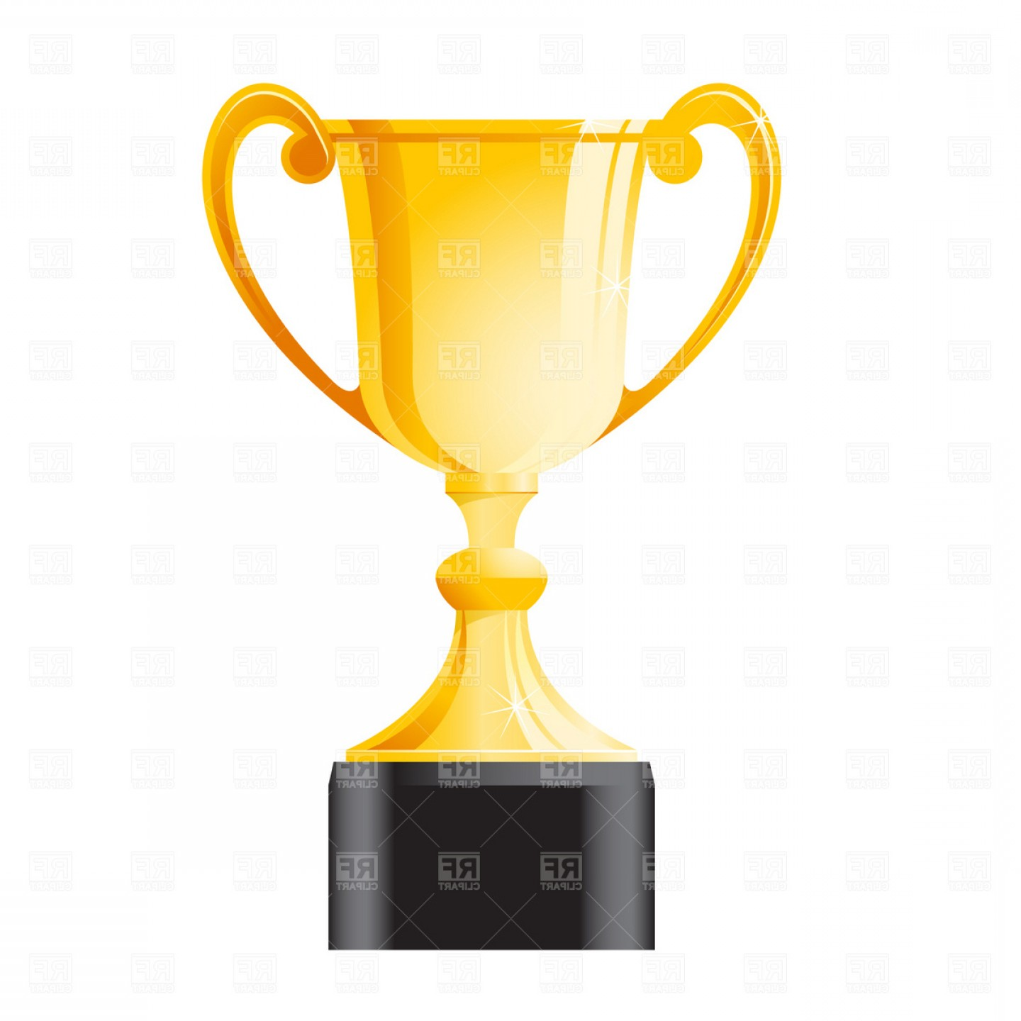 Gold Trophy Vector: Golden Trophy Winners Cup Vector Clipart